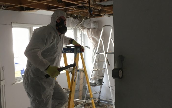 During Asbestos Ceiling Removal Job in Reading